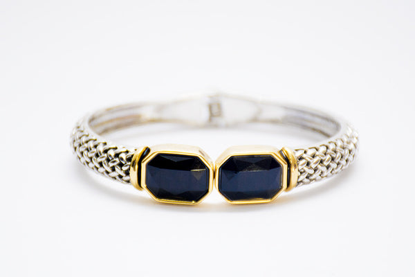 Black duo-stone cuff bangle