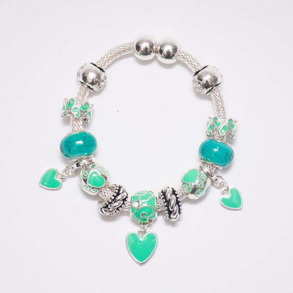 Turquoise charms silver bracelet