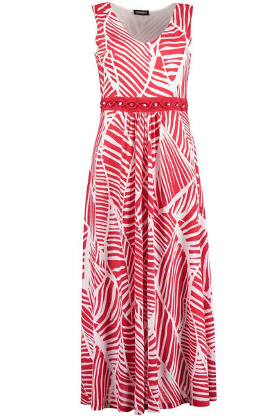 Red Abstract Midi Dress