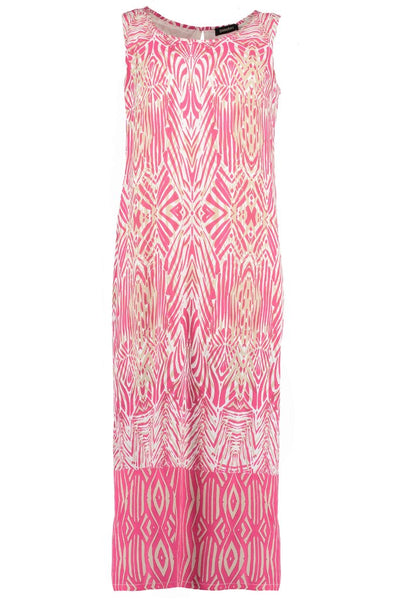 Bright pink Long African Boarder Dress