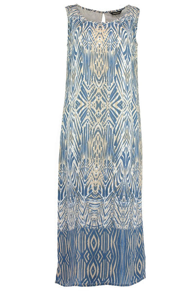 Chambray Long African Boarder Dress