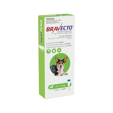 Bravecto Spot On Medium Dog Green 10 - 20kg 1 Pack