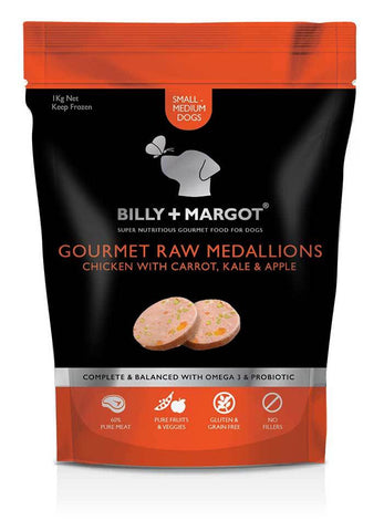 Billy & Margot Gourmet Raw Medallions Chicken With Carrot, Kale & Apple 1kg