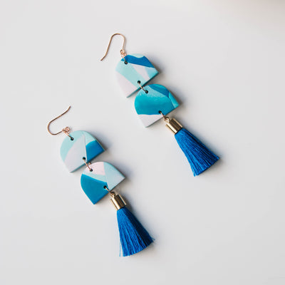 Tassel Earrings statement blue