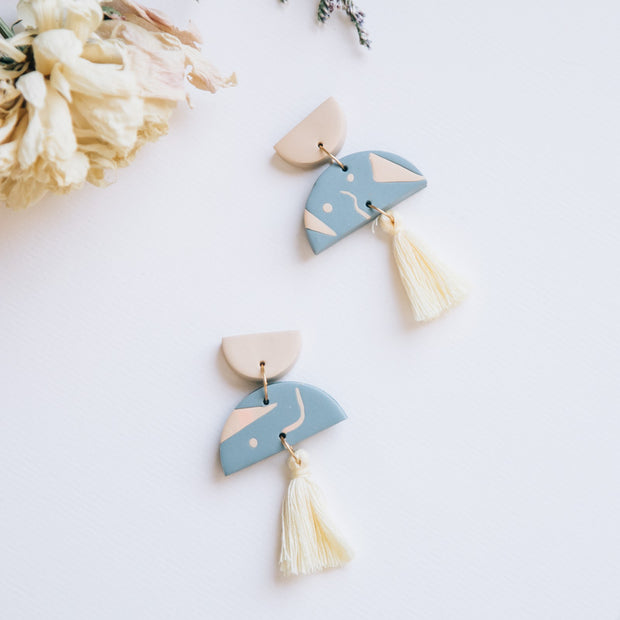 Graphic Earrings Tassel yellow #2