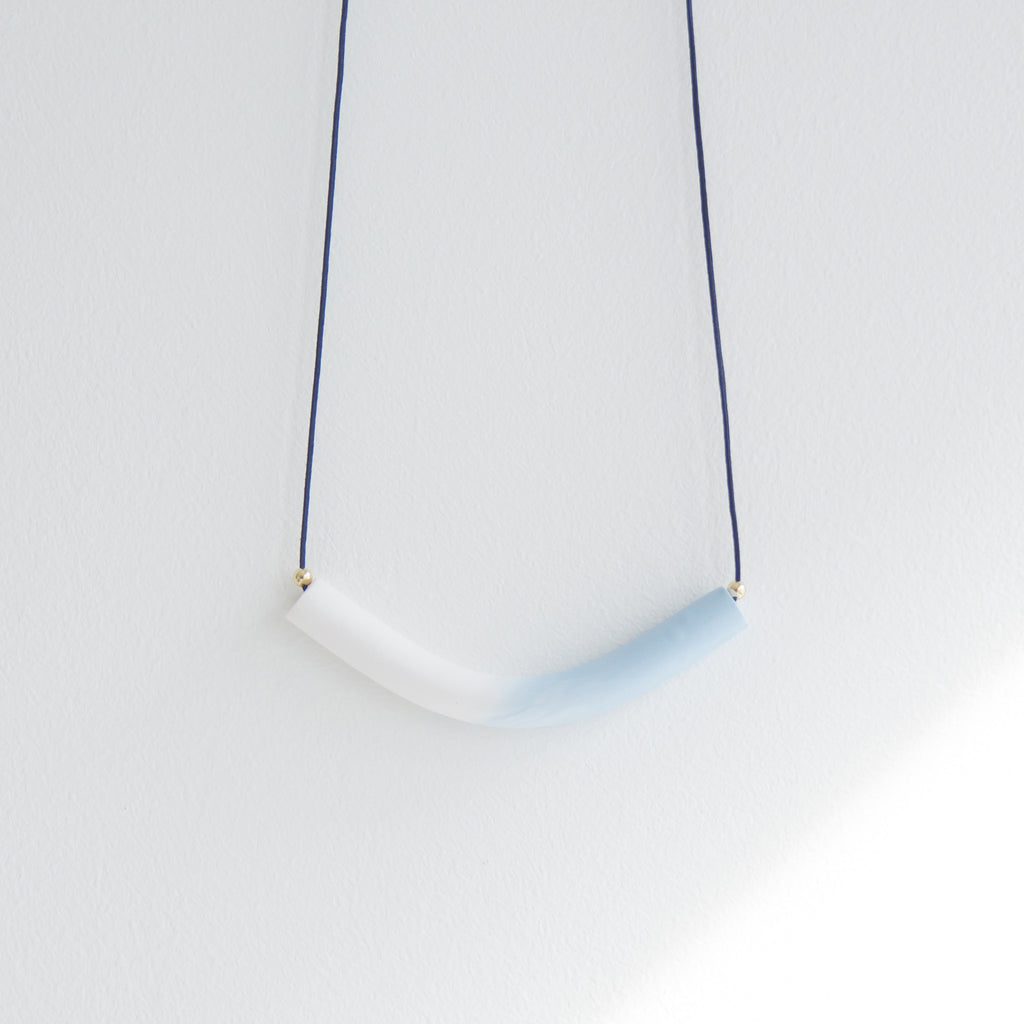 TUBE gradient blue Necklace - Longue Vue Design