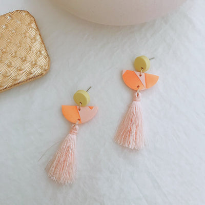 Abstract Landscapes Tassel Earrings #1
