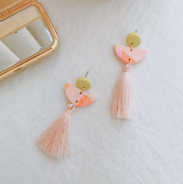 Abstract Landscapes Tassel Earrings #2