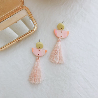 Abstract Landscapes Tassel Earrings #3