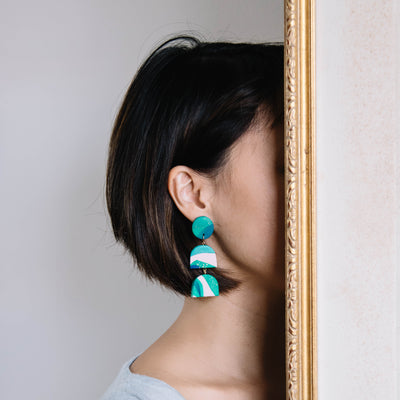 Trio Dangle Earrings green