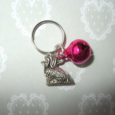 Fashion Jewelry Vintage Silver Yorkie Dog &Mix Bell Charm Keychain Gifts DIY Fit Key Circle Accessories Jewelry Free