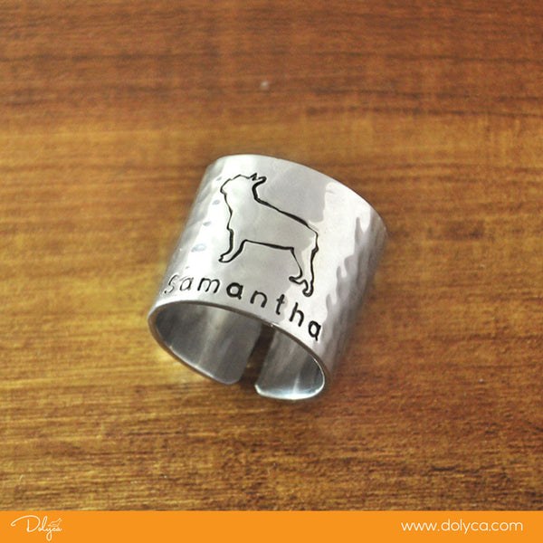 Personalized Hammered French Bulldog Ring