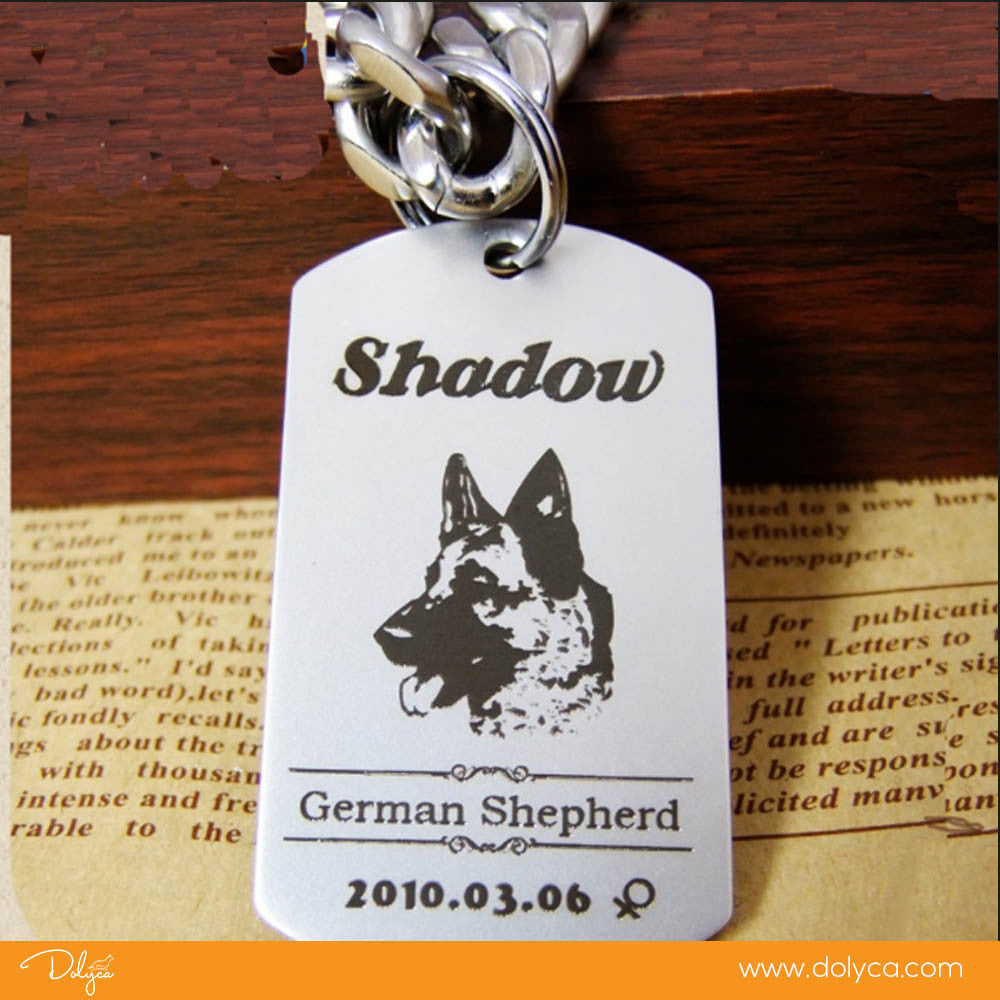 Personalized Stainless Steel Dog Tag Engraved Name Telephone NECKLACE