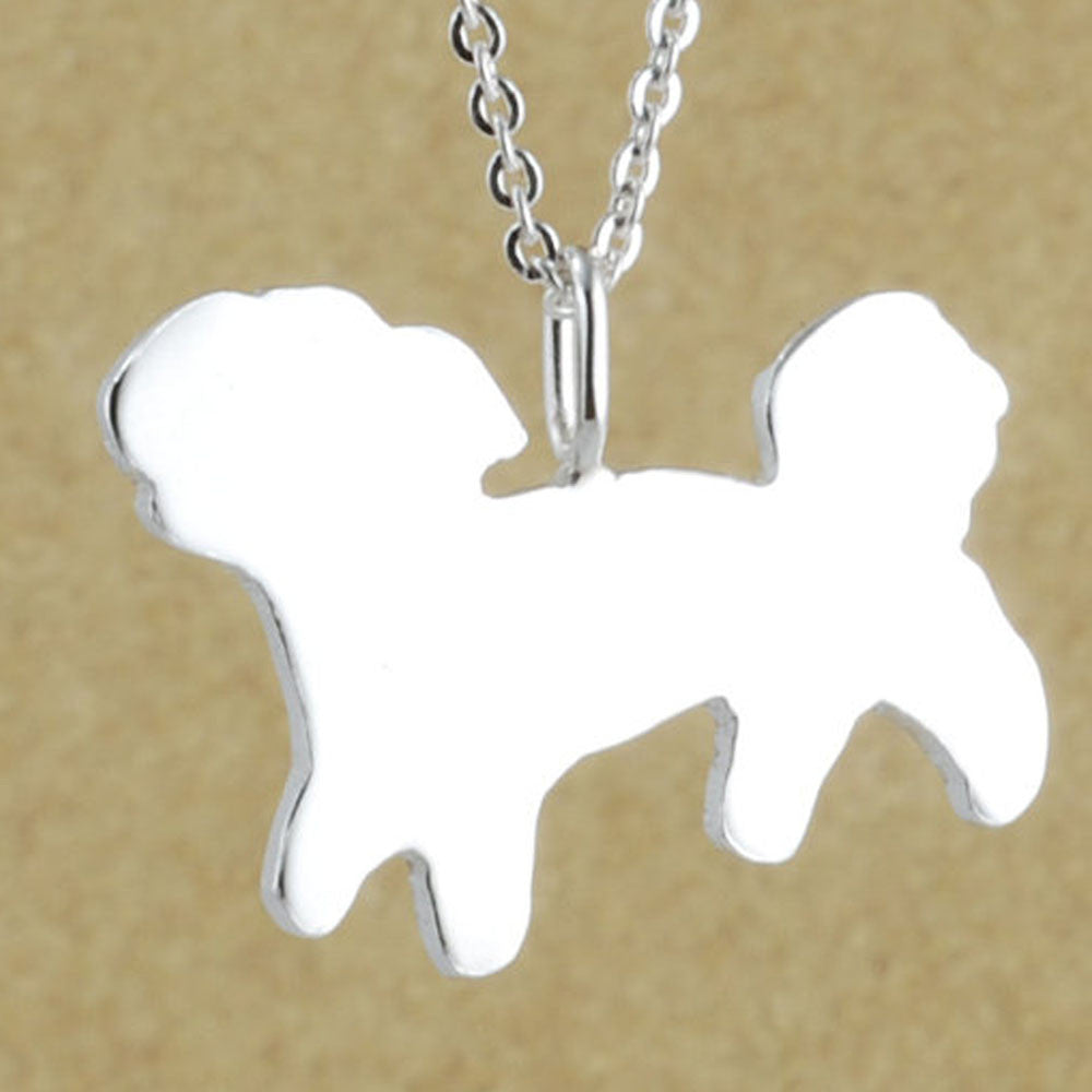 Newest Unique Shih Tzu Necklace Pendant Silver Handcrafted Shih Tzu Necklace Jewelry Collare With Ketting Gift Idea-20Pcs