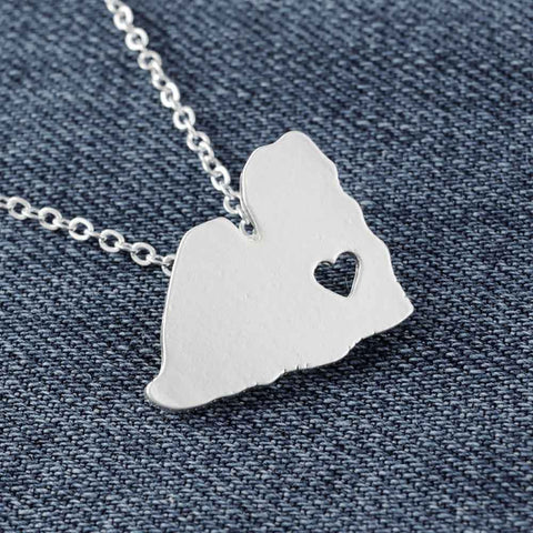 Shih Tzu Necklace Matt Silver Dog Necklace Shih Tzu Animal Jewelry with Heart Women Necklace 1pc