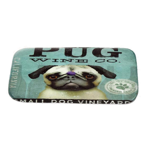 40cmx60cm Custom Fashion Cute Pug Printed Rectangular Carpet Living Room