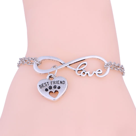 2017 New Dogs Paw Best Friend Love Heart Silver Chain Bracelet for women