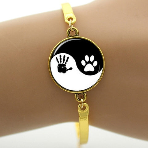 Vintage handprint and dog paw print bracelet