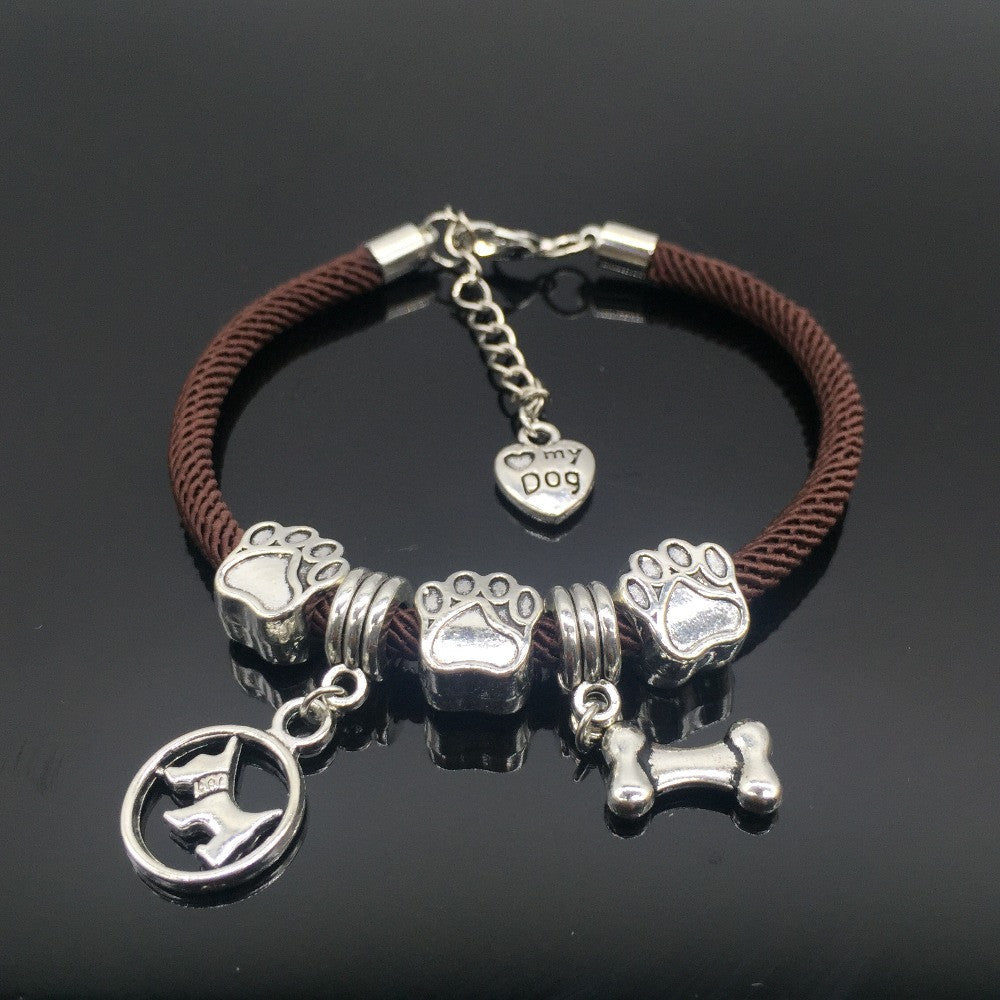 DIY Dog Mom Bracelet Charm Rope Chain Heart Pendant Jewelry