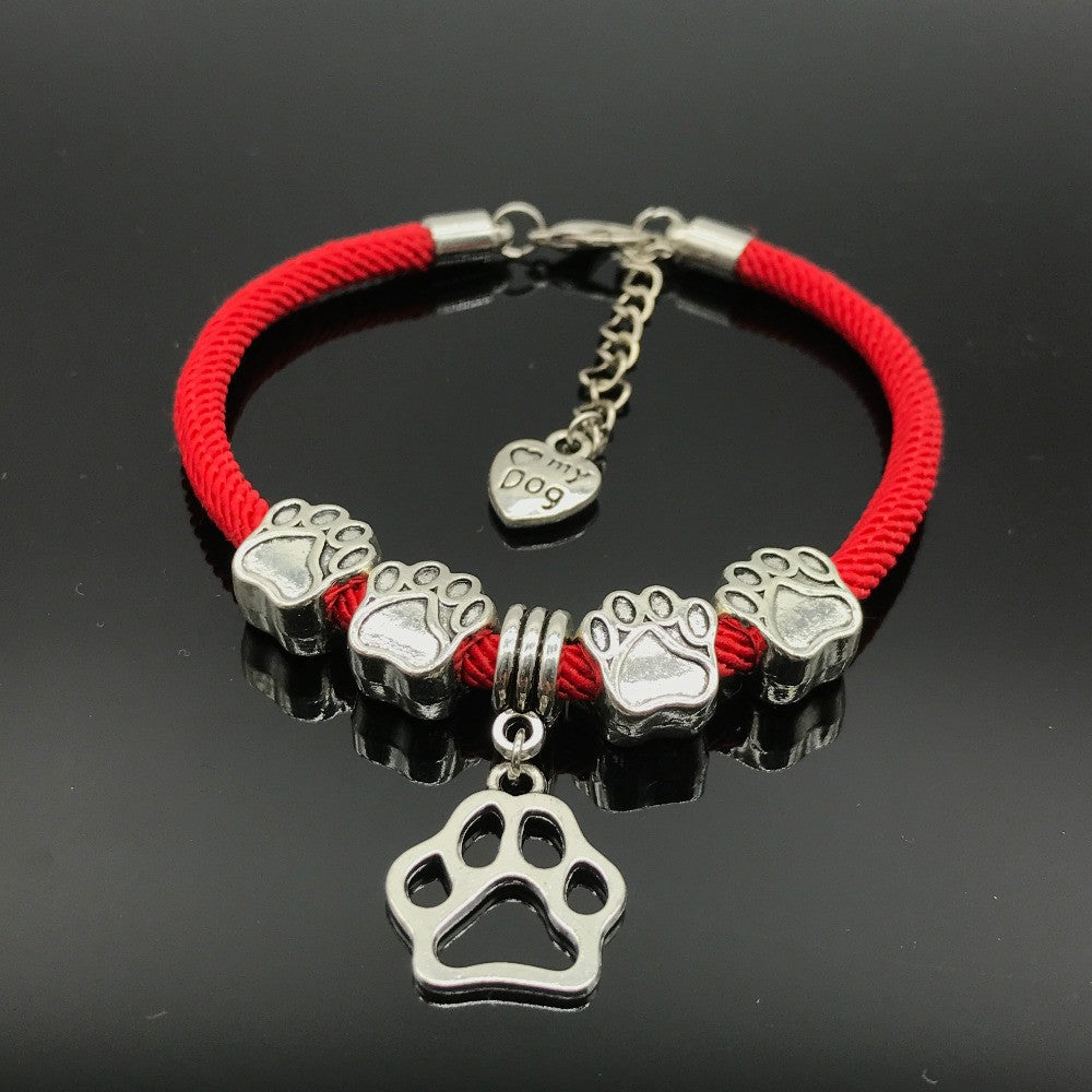 New Dog Paw Charms Rope Chain Bracelets For Women