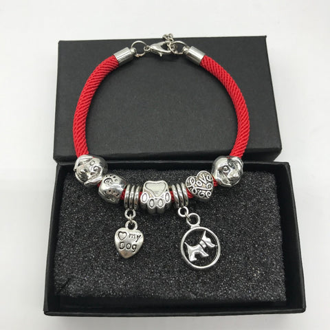 New Cute Dog Heart Charms Bracelet- Dog Paw Rope Chain Animal Bracelet