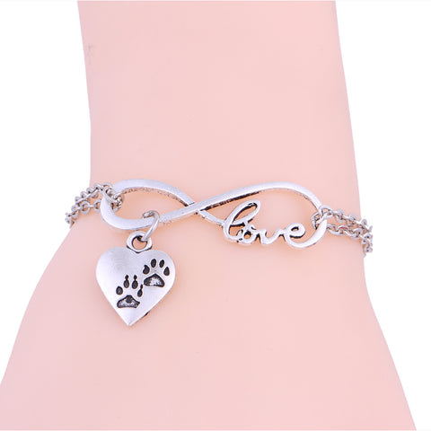 New I love Dog Paw Print Charms Antique Silver Link Chain Bracelet