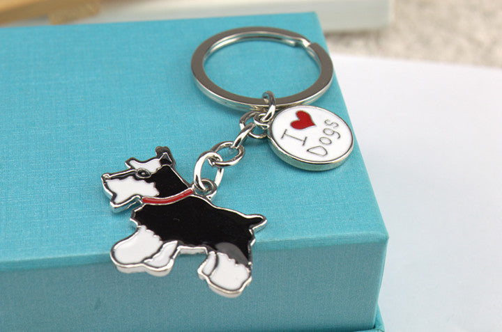 Stainless steel pet key chain Schnauzer key chain to send birthday gift to a friend Gift box packaging