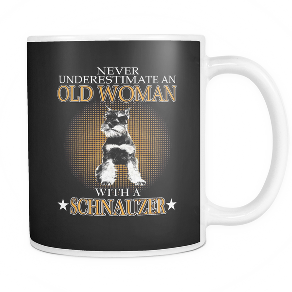 Never underestimate an old woman with a schnauzer mug