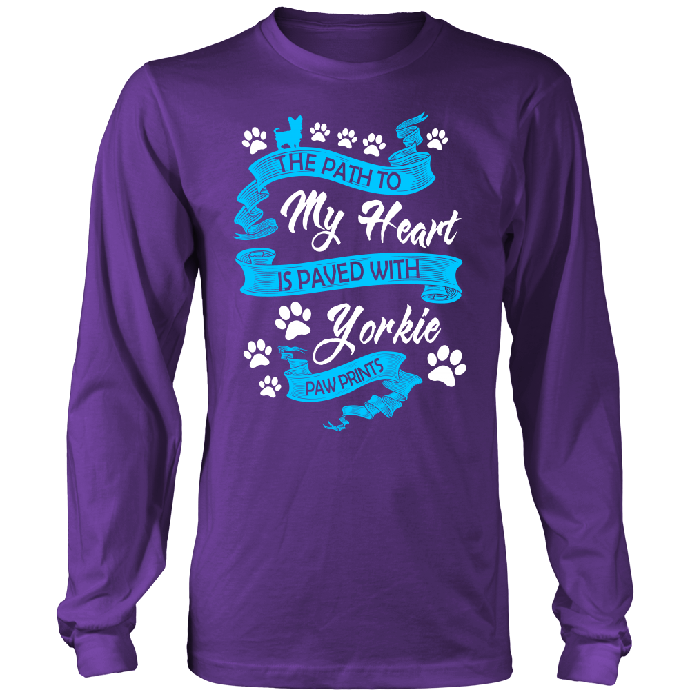 The path to my heart is paved with yorkie paw prints T shirt
