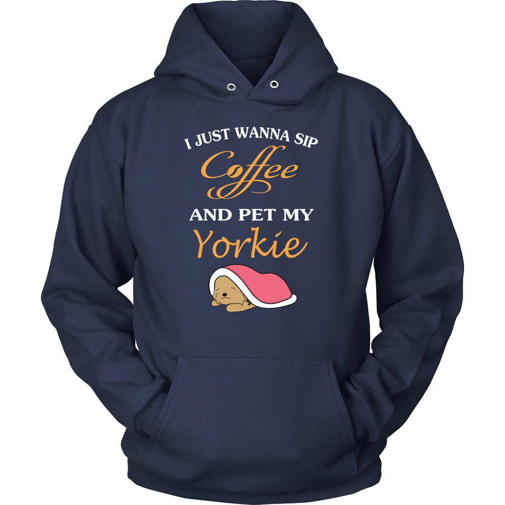I just wanna sip coffee and pet my yorkie T shirt