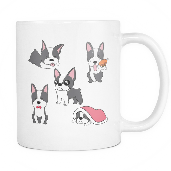 Boston terrier multi pictures mug
