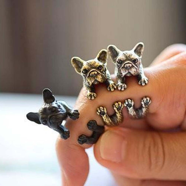 2016  Retro Animal Handmade French bulldog Ring Fashion Antique