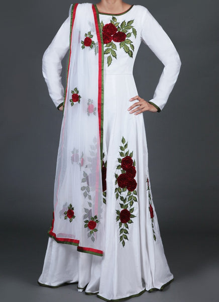 White Floral Embroidered Anarkali - Saree Safari, Buy