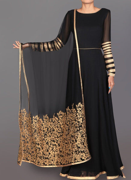 Black and Gold Embroidered Georgette Anarkali - Saree Safari, Buy