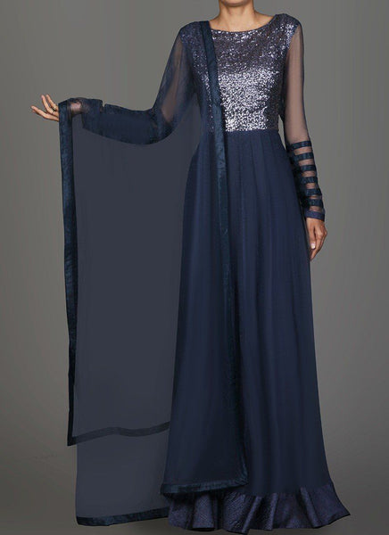 Blue Sequins Embroidered Anarkali - Saree Safari, Buy