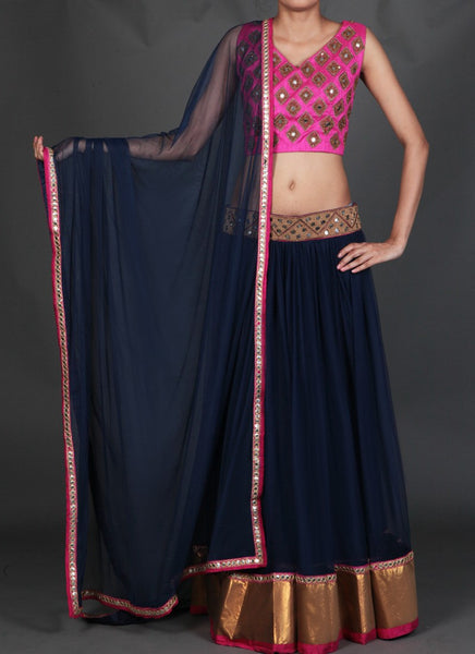 Pink and Navy Blue Mirror Work Embroidered Lehenga - Saree Safari, Buy