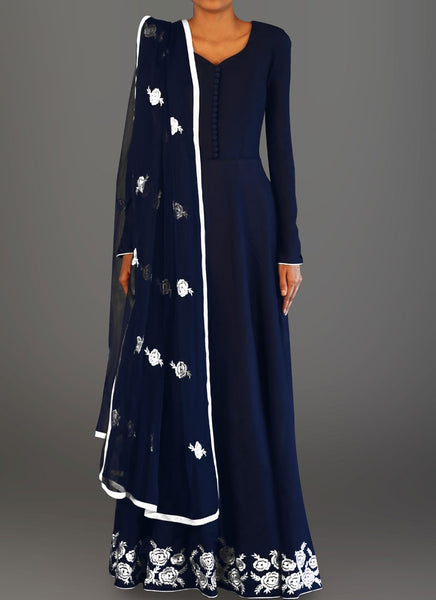 Navy Blue and White Embroidered Anarkali - Saree Safari, Buy