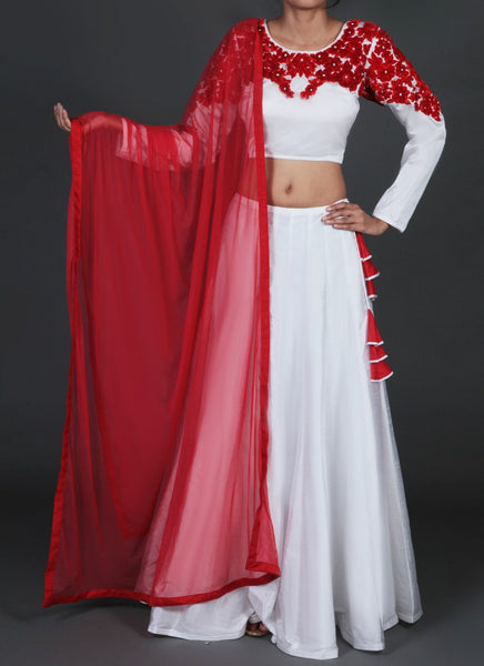 White and Red Embroidered Lehenga - Saree Safari, Buy