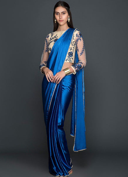 Blue and Cream Embroidered Satin Saree - Saree Safari, Buy