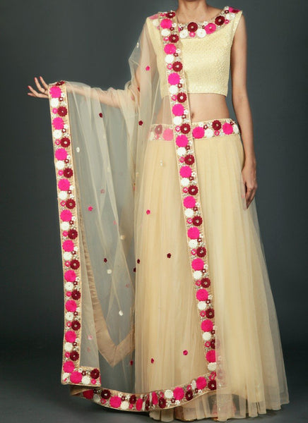 Golden Cream Multicolor Net Lehenga - Saree Safari, Buy
