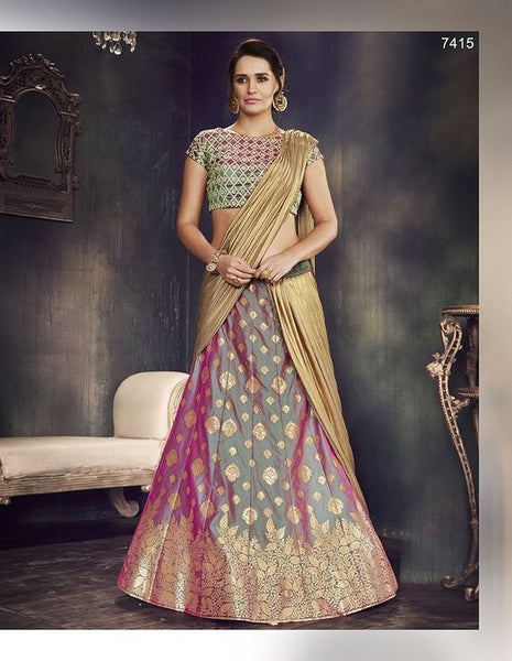 party/wedding wear multi color silk lehnga - Saree Safari, Buy