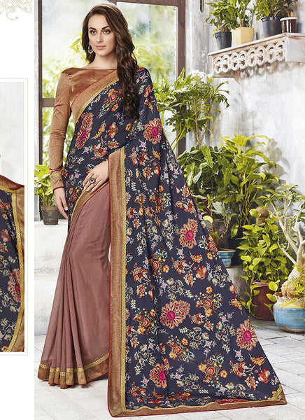 Catelog 6650: casual floral print trim sarees - brown - Saree Safari, Buy
