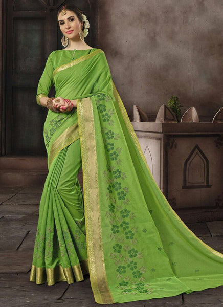 Cotton Silk Casual Wear Printed Work Saree- green - Saree Safari, Buy