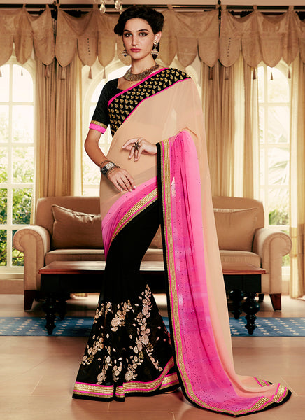 Multi Colour Party Wear Embroidered Work Saree- pink peach - Saree Safari, Buy