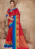 Silk Party Wear Border Work Saree- red blue - Saree Safari, Buy