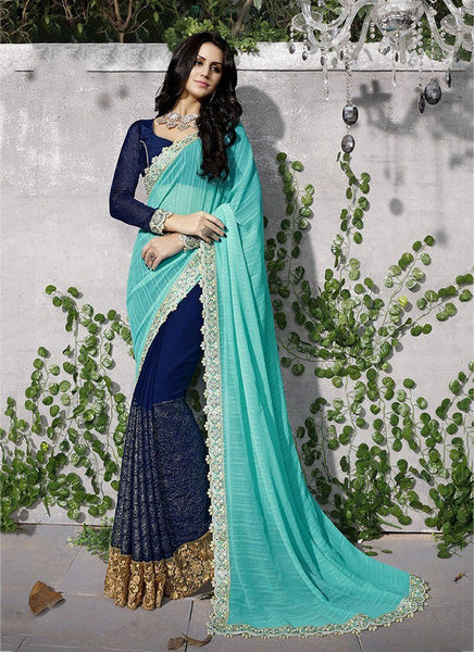 Catalog 7113: Trendy Embroidery Work Wedding Wear Sarees  - navy - Saree Safari, Buy