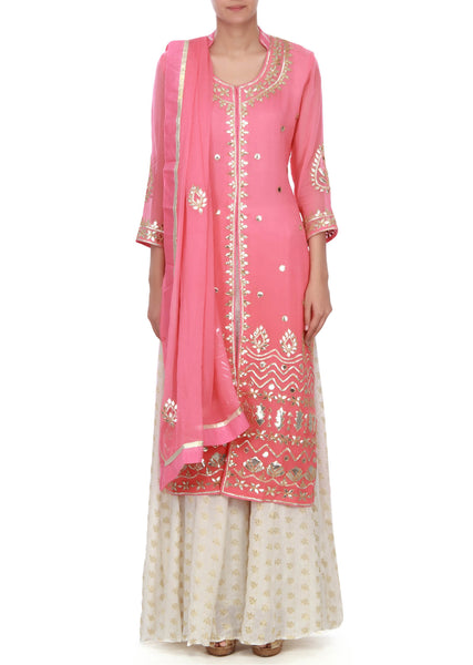 Pink straight suit in gotta patch work - Saree Safari, Buy