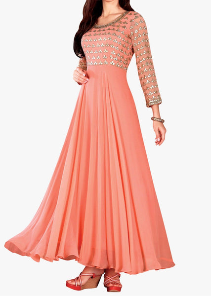 Coral anarkali suit in georgette with gotta patch embroidered bodice - Saree Safari, Buy