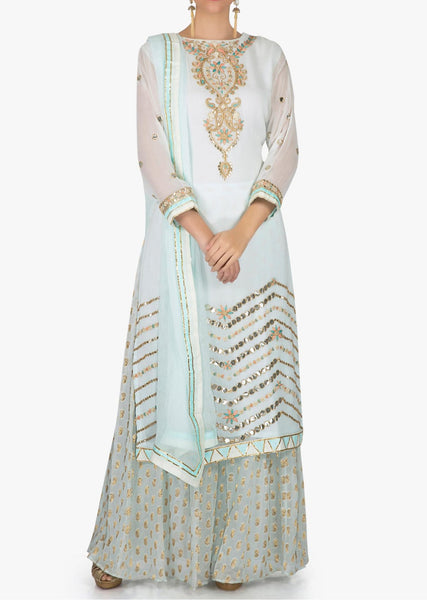 Mint blue palazzo suit in georgette with gotta patch embroidered neckline - Saree Safari, Buy