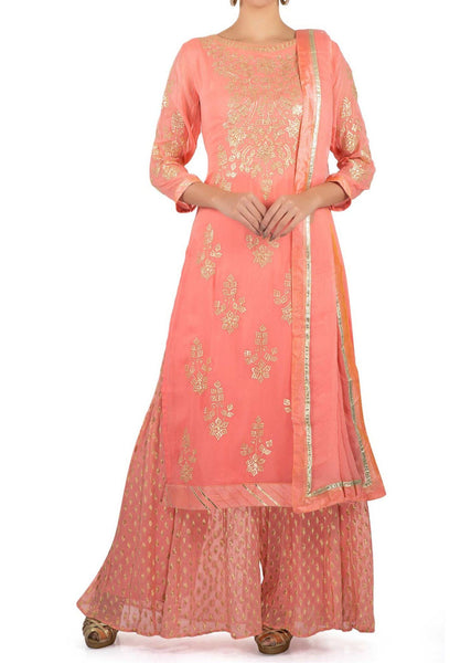 Candy pink palazzo suit in zari embroidered placket and butti - Saree Safari, Buy